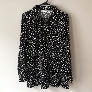 Susan Graver Long Sleeve Blouse Black & Cream NWOT